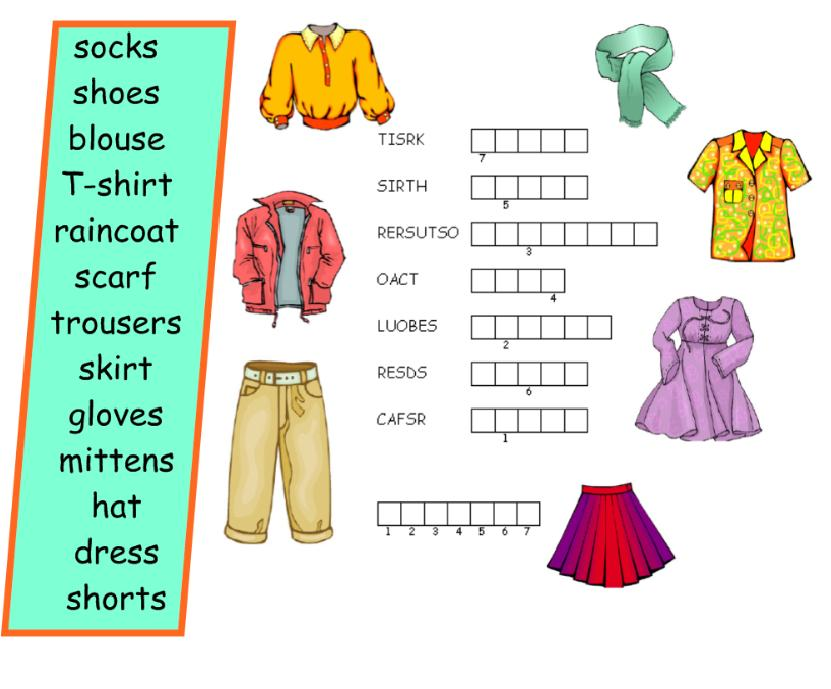 English Exercises: CLOTHES