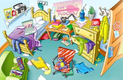 English exercises prepositions with rooms and furniture for Chambre en desordre