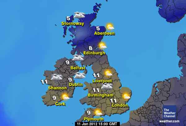 Scotland Weather Map.English Exercises The Weather In Britain
