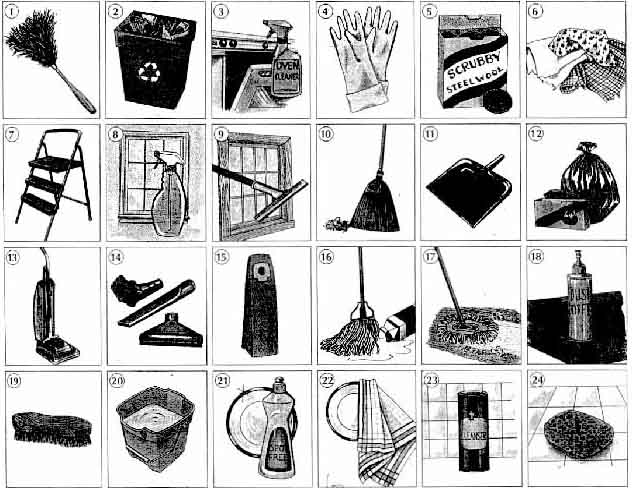 English Exercises Cleaning Supplies