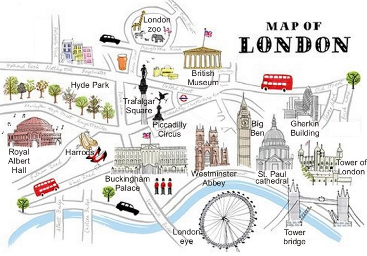 Map Of London With Famous Landmarks.English Exercises London Monuments And Places