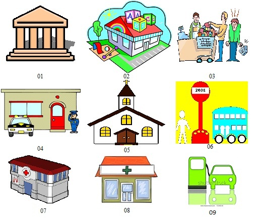 English Exercises: City - What do you do in these places