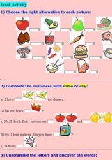 english exercises the food