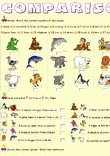 Esl English Exercises Comparatives Animals