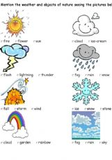 Esl English Exercises Weather And Nature